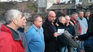 Fisherman's Friends giving statement in Port Isaac