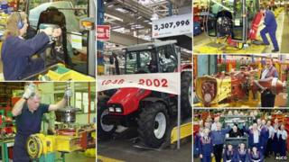 Workers construct the last tractor at Massey Ferguson's Banner Lane factory in Coventry