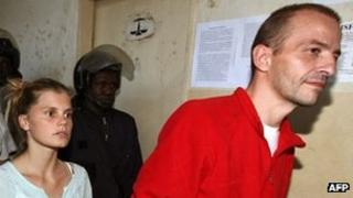 File photo taken in Chad in 2007 of, from right to left, Eric Breteau and Emilie Lelouch