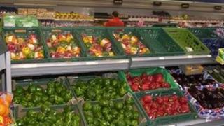 Fruit section of supermarket
