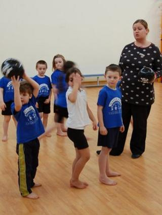 Primary children in PE lesson