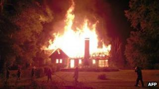 Home of the Luchsinger couple on fire on 4 January 2013