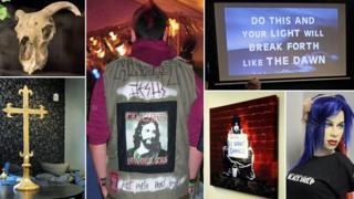 Goats skull, crucifix, Christian heavy metal fan, screen, painting and dummy