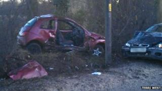 Wreckage of car crash on Runwell Road