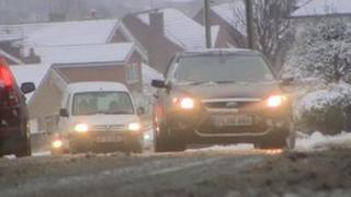 Cars in snow in Cheadle, Staffordshire