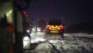 Motorists stuck on a hill in East Yorkshire