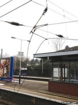Damage to near Radlett Station in Hertfordshire