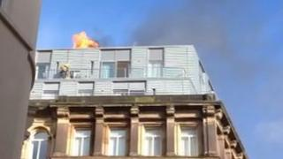 Fire on roof of Hard Days Night Hotel