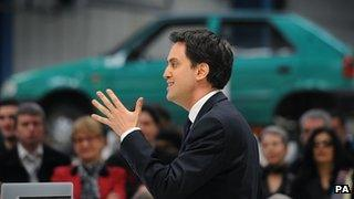 Ed Miliband speaking at the Bedford Training Group