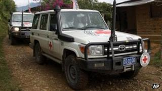 Red Cross vehicle involved in Farc hostage release operation