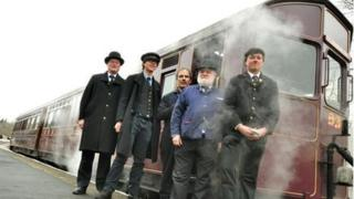 SDR staff and volunteers with the steam railmotor