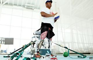 "Paralympic discus thrower Derek Derenalagi with his ""bionic leg"""