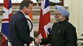 UK Prime Minister David Cameron with Indian Prime Minister, Manmohan Singh