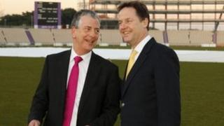 """Deputy Prime Minister and Liberal Democrat Party Leader Nick Clegg (right) with Mike Thornton, the party""""s prospective parliamentary candidate during the Eastleigh by-election campaign at the Ageas Bowl in Hampshire"""