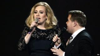 Adele cut short by James Corden at Brits 2012