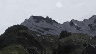 'Moon over Crib Goch' gan Syr Kyffin Williams
