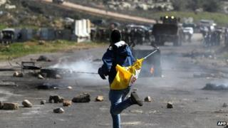 Palestinian protester at Ofer Prison in West Bank - 21 Feb 2013