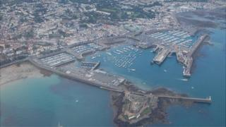 Aerial view of Guernsey's St Peter Port Harbour