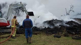 Guernsey firefighter deals with tyre fire