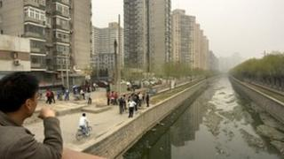 polluted waterway in Beijing