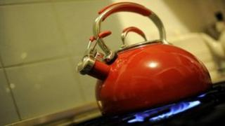 Kettle on a gas hob