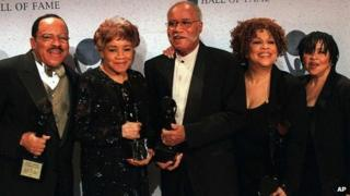 The Staple Singers in 1999, with Cleotha second left