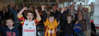 Fans watching Bradford City at the Bradford Bulls stadium