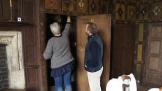 The cupboard where the secret room was found at the National Trust's Canons Ashby