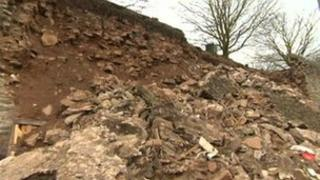 Collapsed wall in Ludlow