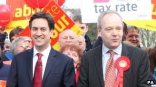 Opposition leader Ed Miliband visits Eastleigh to meet Labour candidate John O'Farrell