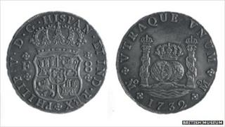 Eight reales coin