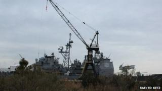 US Navy battleship in Newport News, Virginia 26 February 2013