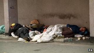 Homeless people sleeping rough