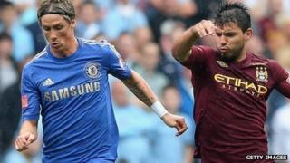 Chelsea's Fernando Torres and Sergio Aguero of Manchester City