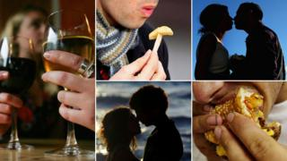 Images of drinking, eating, and couples kissing
