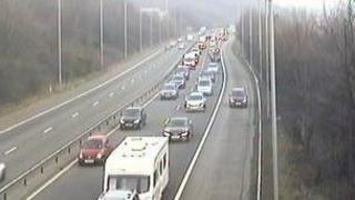 A traffic Wales camera showing some of the tailbacks