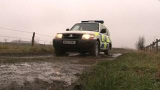 Police vehicle on Wiltshire farm