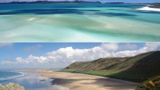 Whitehaven in Queensland (top) and Rhossili Bay, Gower peninsula
