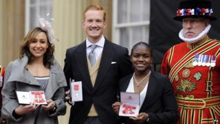 Jessica Ennis, Nicola Adams and Greg Rutherford with their MBEs
