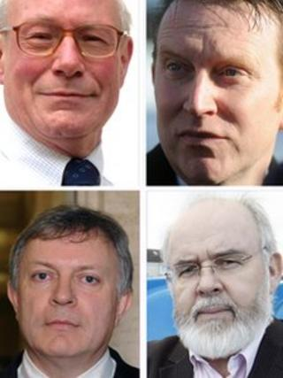 The candidates are, from top left: Eric Bullick (Alliance), Nigel Lutton (Ulster Unionist Unity), Francie Molloy (Sinn Fein) and Patsy McGlone (SDLP)