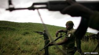 Congolese soldiers in eastern DR Congo during training exercises (Archive shot)