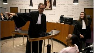 Yvonne Basebya in court at The Hague