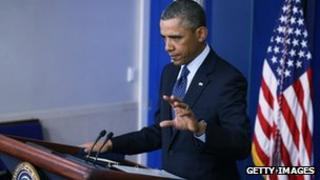 US President Barack Obama speaks to the press at the White House 1 March 2013