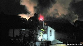 Houses on fire in Grays, Essex