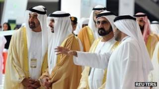 "UAE Prime Minister and ruler of Dubai Sheikh Mohammed bin Rashid al-Maktoum, Dubai's Crown Prince Sheikh Hamdan bin Mohammed bin Rashid al-Maktoum and Abu Dhabi""s Crown Prince Sheikh Mohammed bin Zayed al-Nahayan, 17 February 2013"