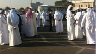 Families of detainees outside court building - picture from #uaedetainees(04/03/13)