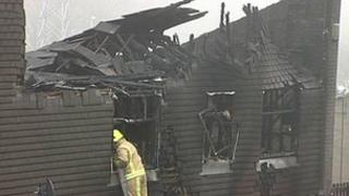Fire-damaged house in Farnley