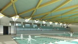 Artist impression of the swimming pool inside the leisure centre