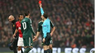 Nani is shown the red card