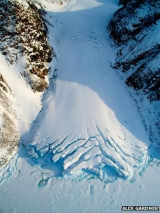 A small glacier exiting the Devon Island ice cap, Nunavat, Canada